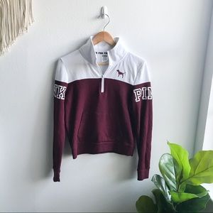 VS PINK 1/4 Zip Pullover Maroon/White Size S